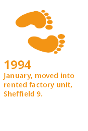 Interesting Fact - 1994 - January, moved into rented factory unit, Sheffield 9.