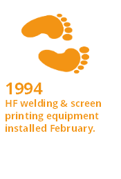 Interesting Fact - 1994 - HF welding & screen printing equipment installed February.
