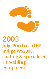 Interesting Fact - 2003 - July, Purchased HP Indigo WS2000, coating & specialised HF welding equipment.